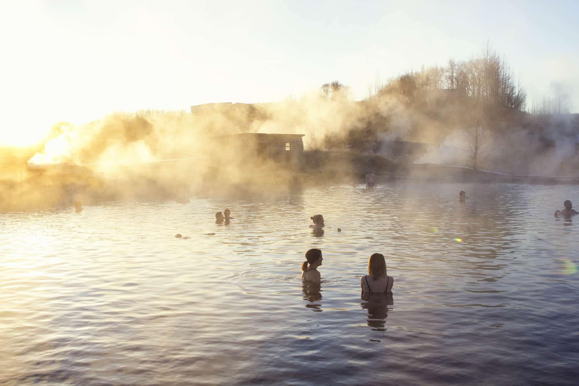 People taking bath in Secret LAgoon