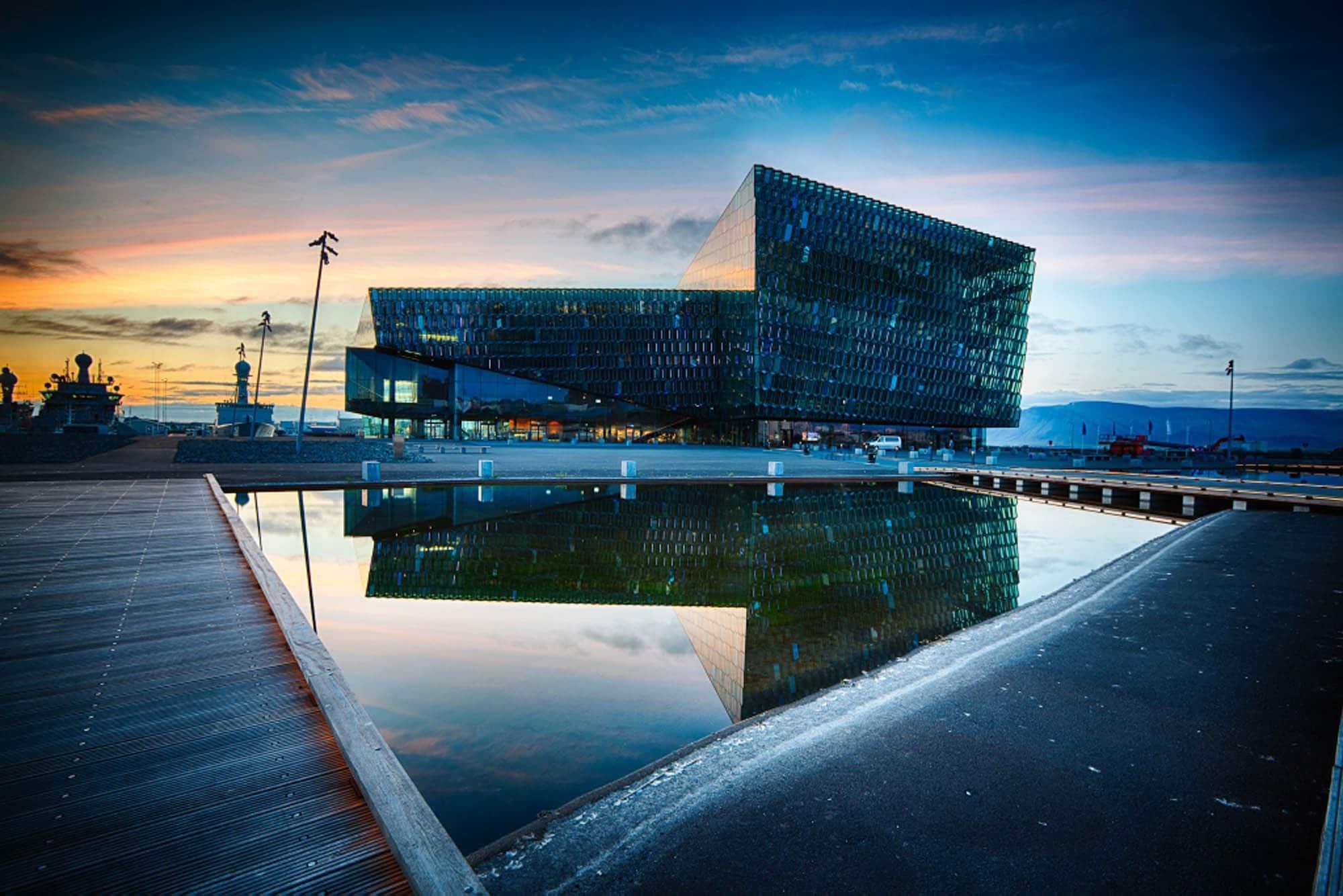 Harpa in Reykjavik at sunset