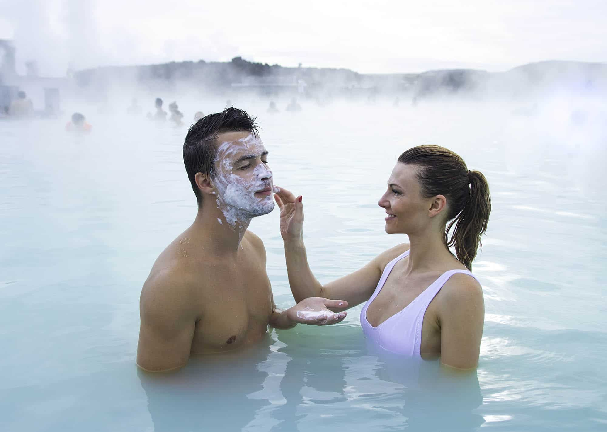 Picture of romantic couple taking bath in Blue Lagoon