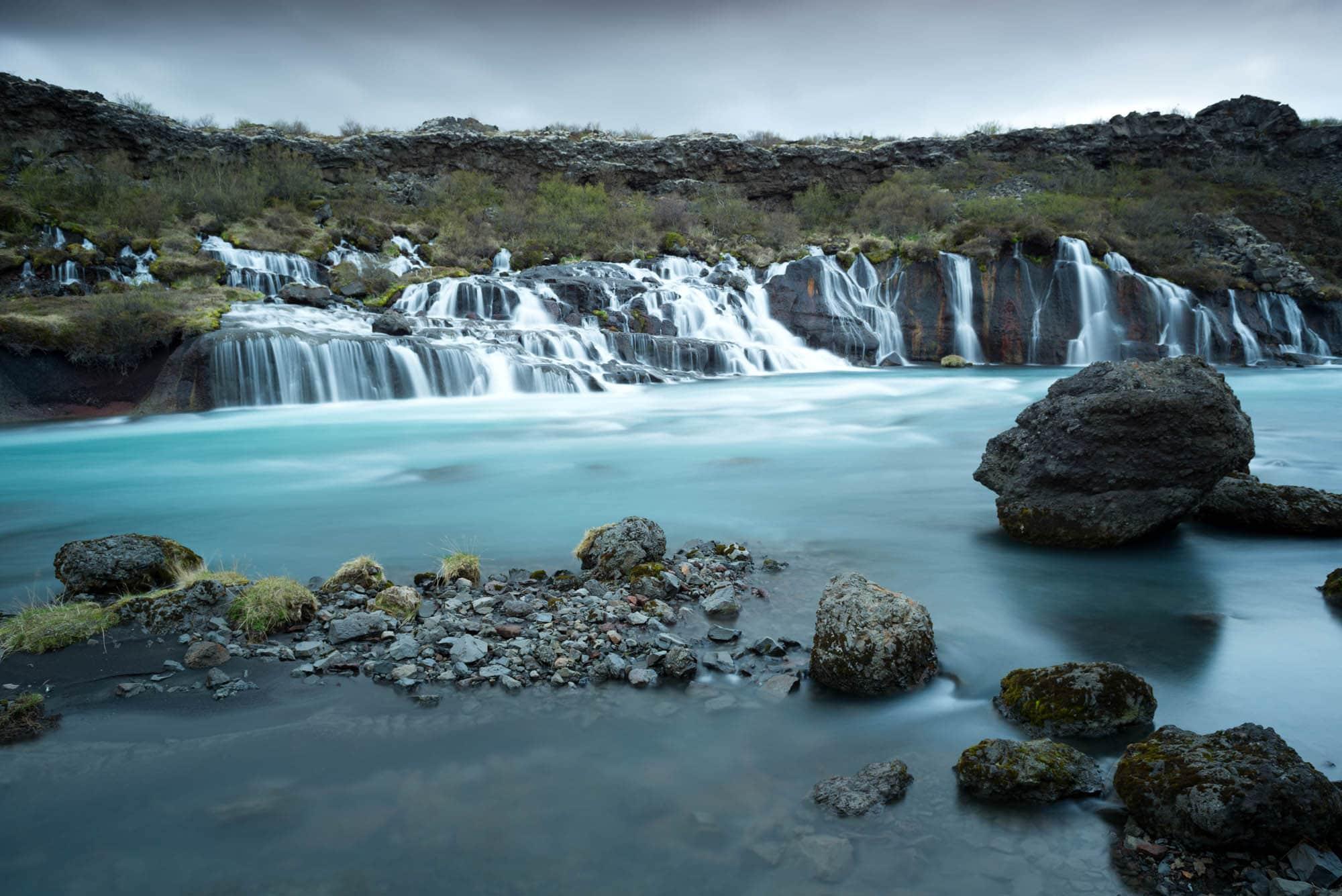 Hraunfossar waterfall west Borgarfjorur