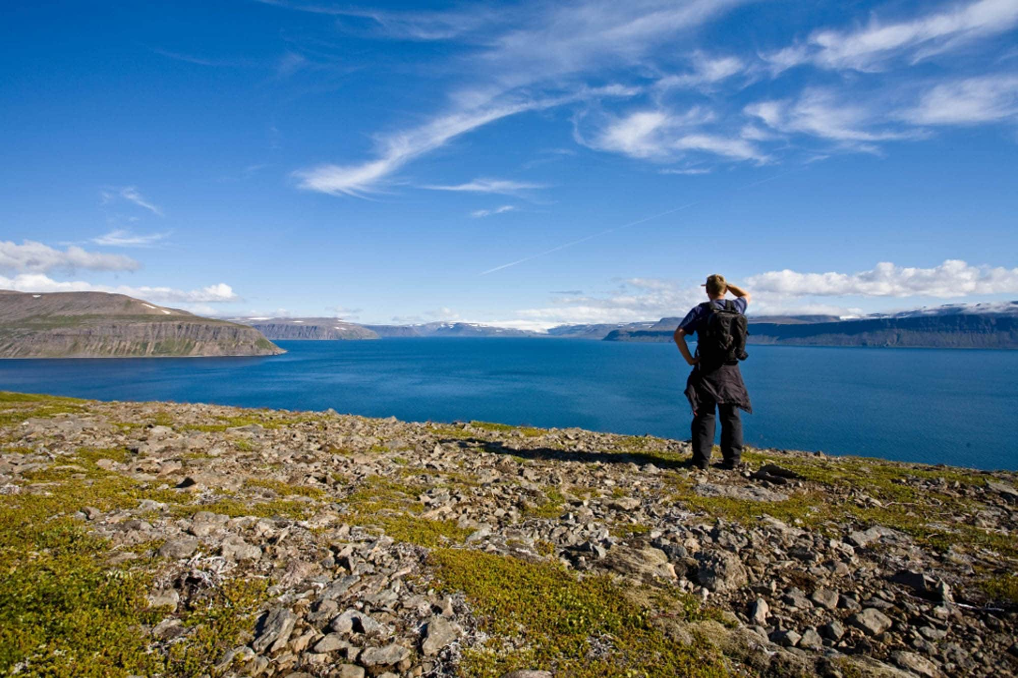 Person looking into Westfjords Iceland