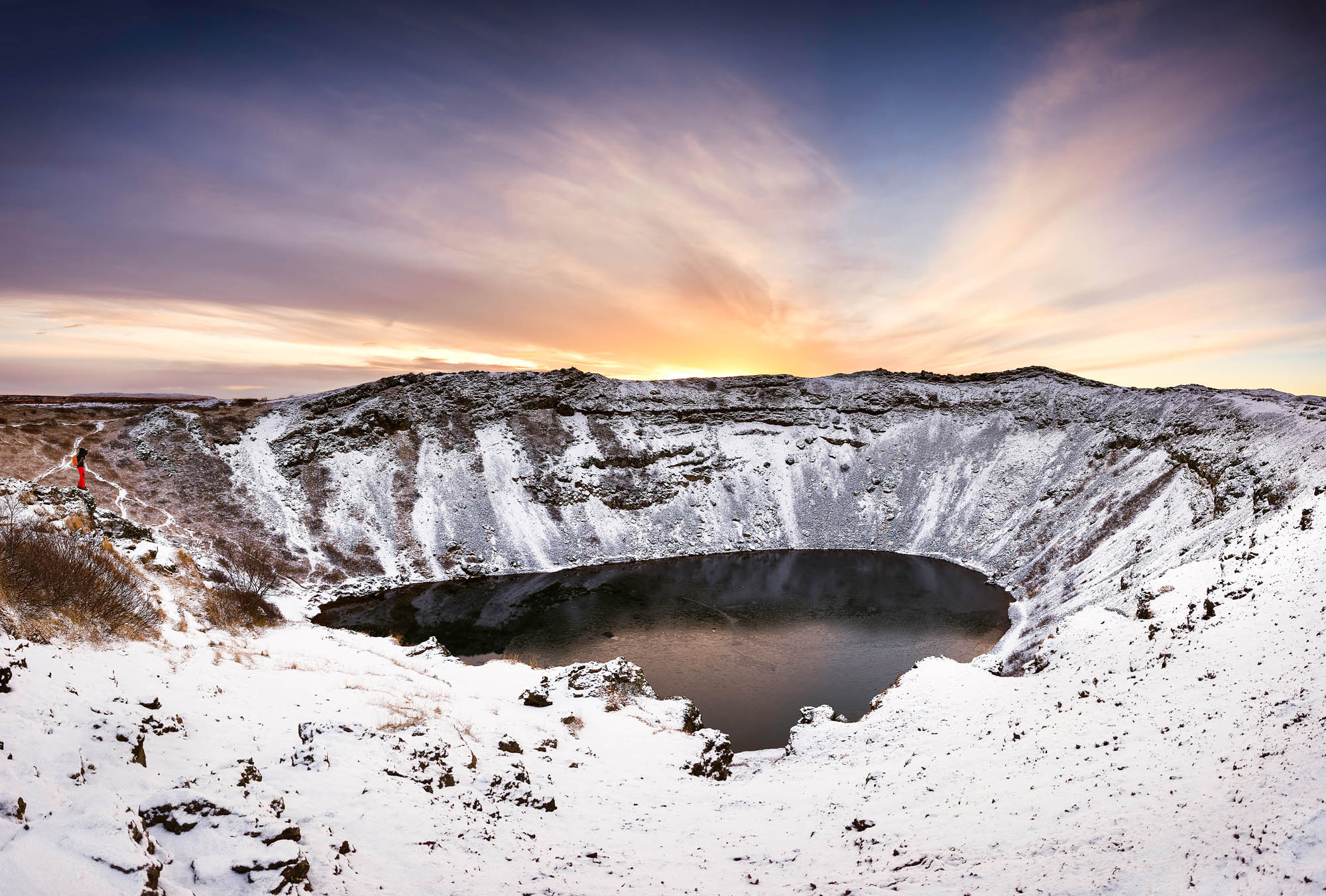 Kerid crater in winter - Iceland for families