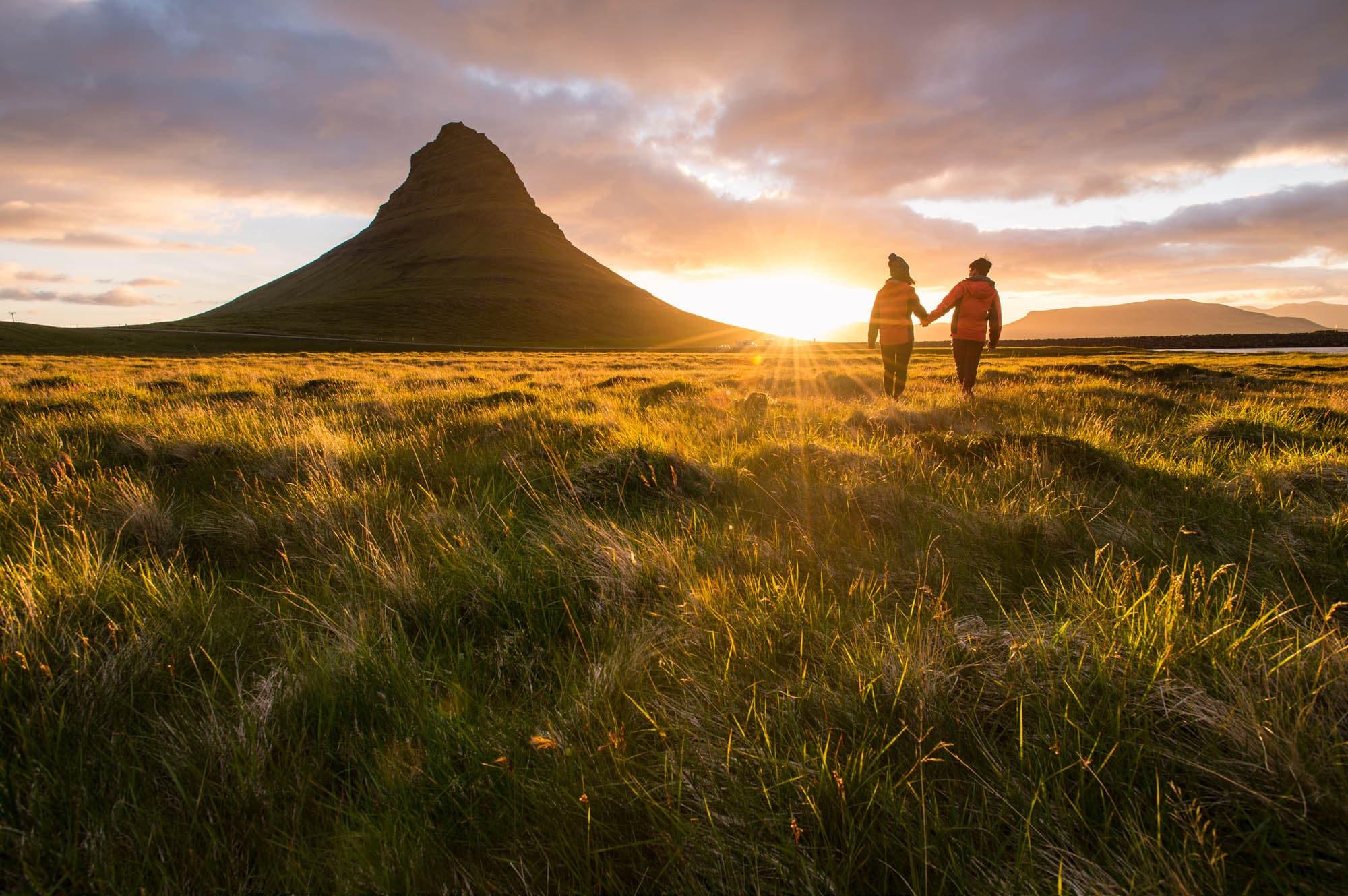 Couple and Kirkjufell - Iceland Honeymoon