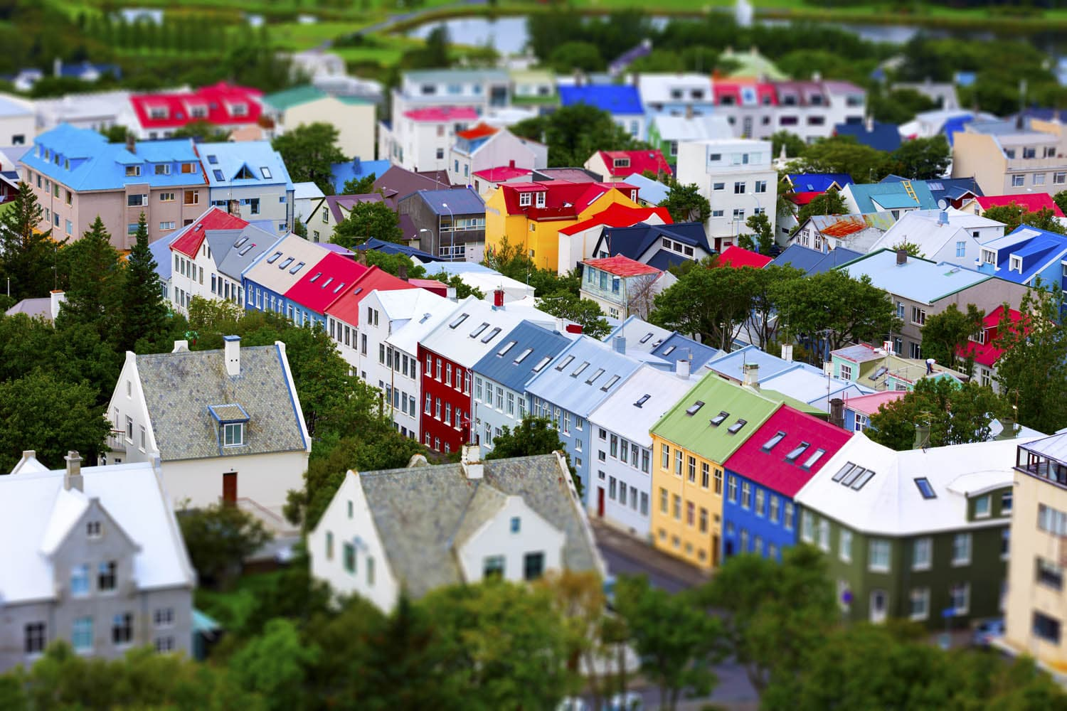 Colorful houses in Reykjavik in summer. View from above