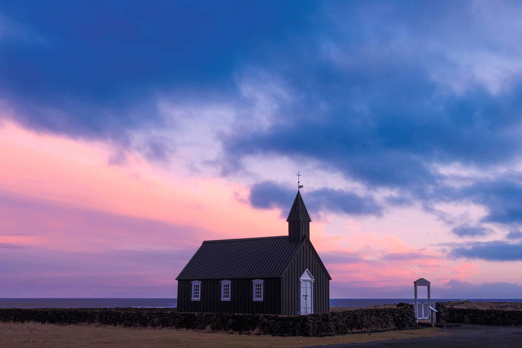 Romantic Iceland - sun set at Budir church on Snaefellsnes