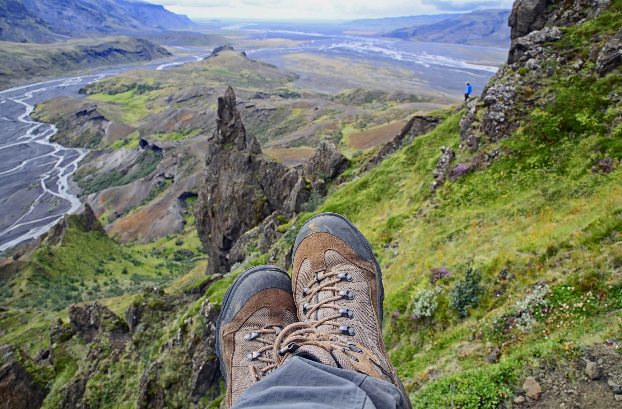Person resting during Thorsmork hiking in Iceland