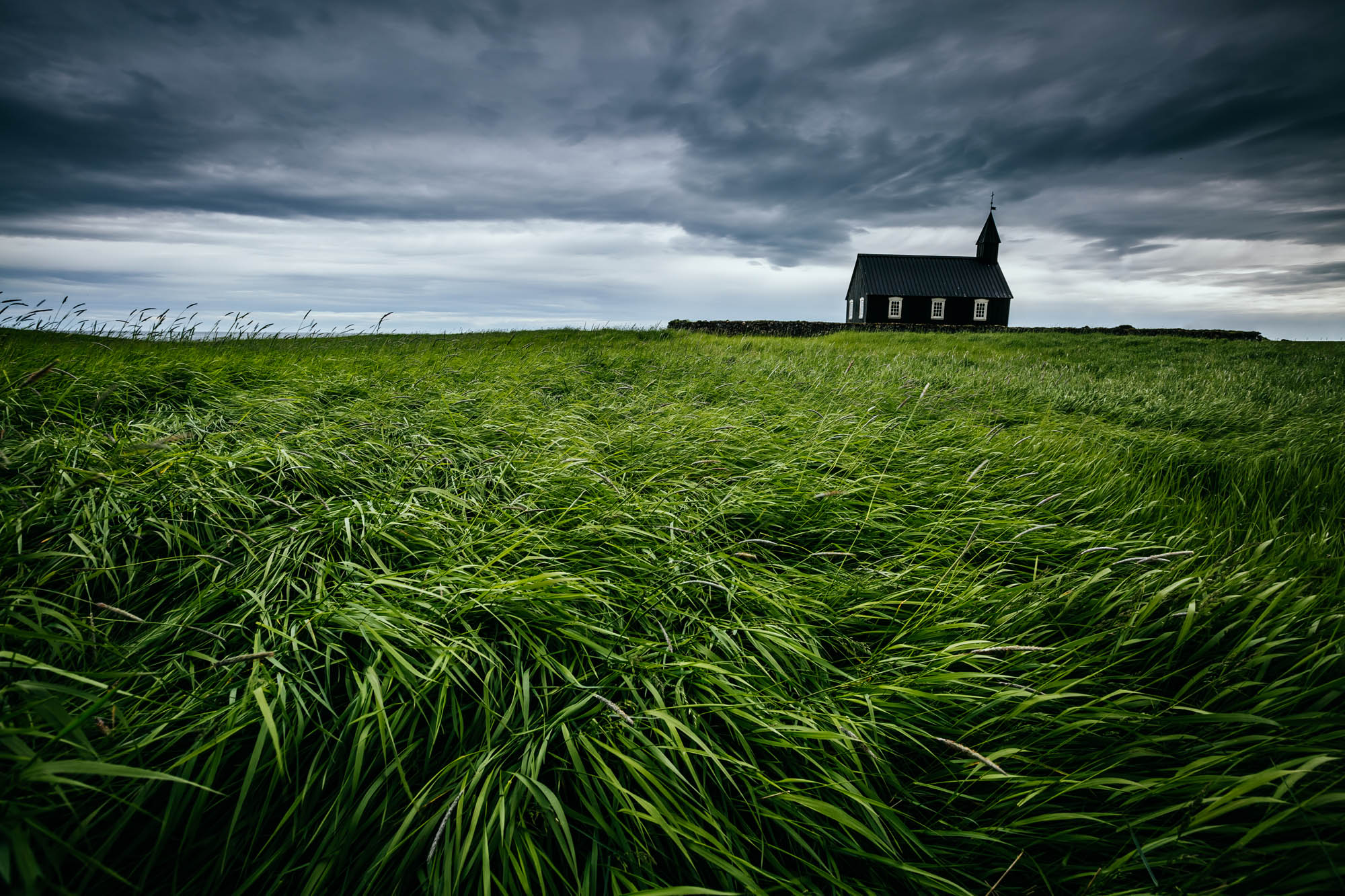 Budir Church with sea of grass