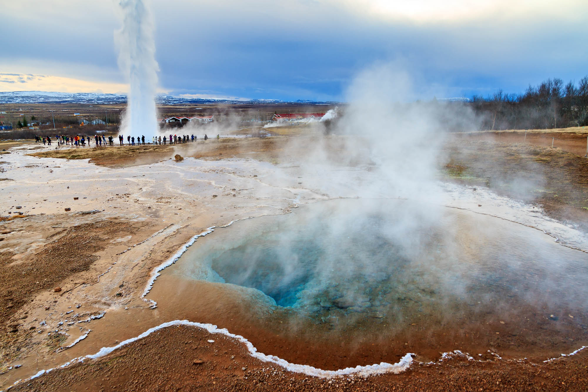 Crystal water in geothermal pools near Geysir - Golden Circle Iceland