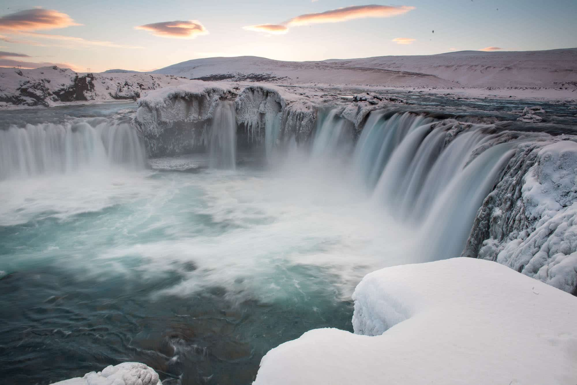 Godafoss waterfall in winter - North Iceland winter