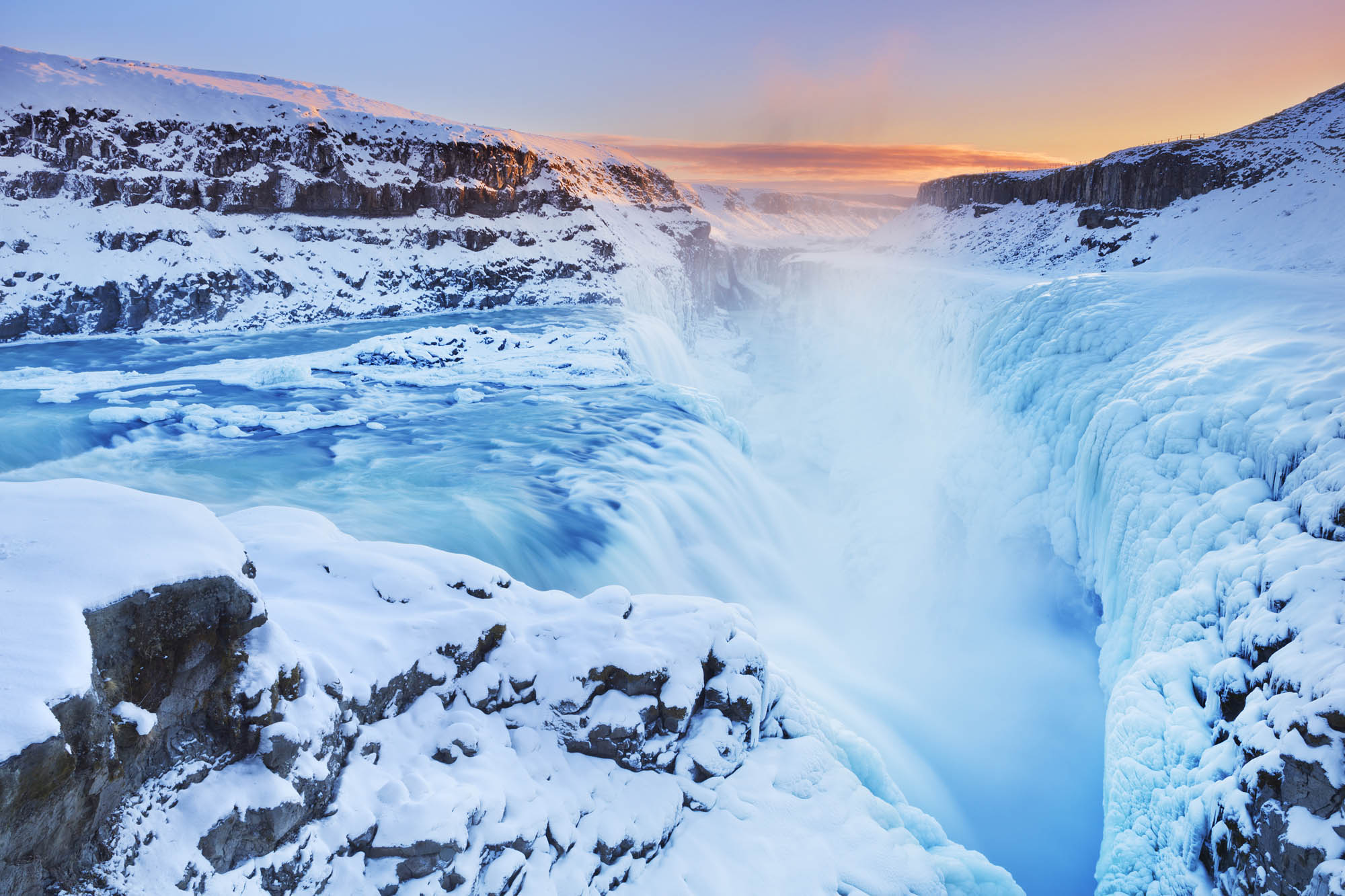Iceland Gullfoss Waterfall in Winter