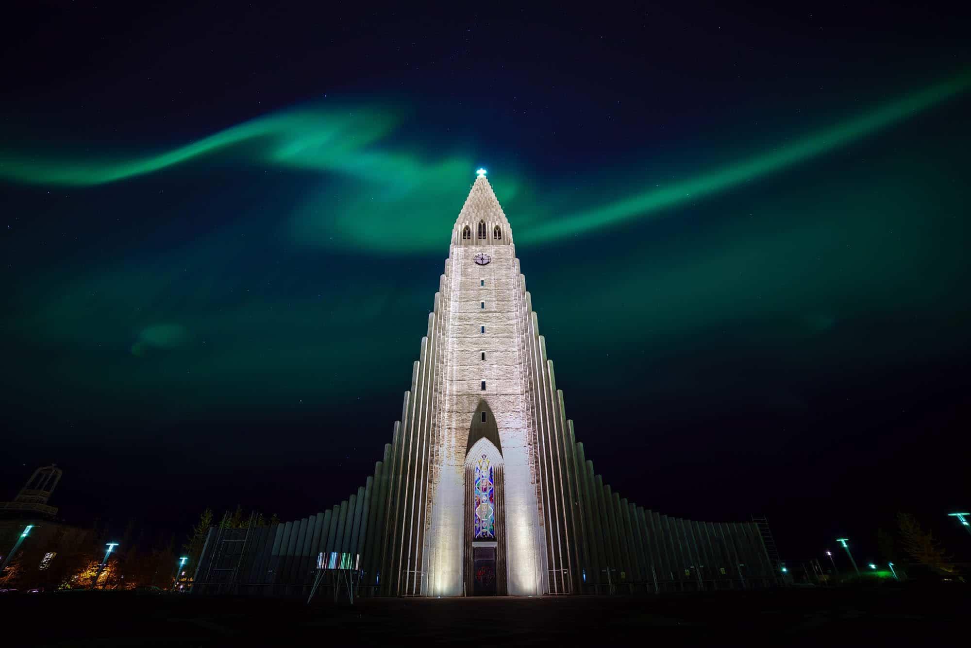 Northern lights over Hallgrimskirkja in Reyjkavik