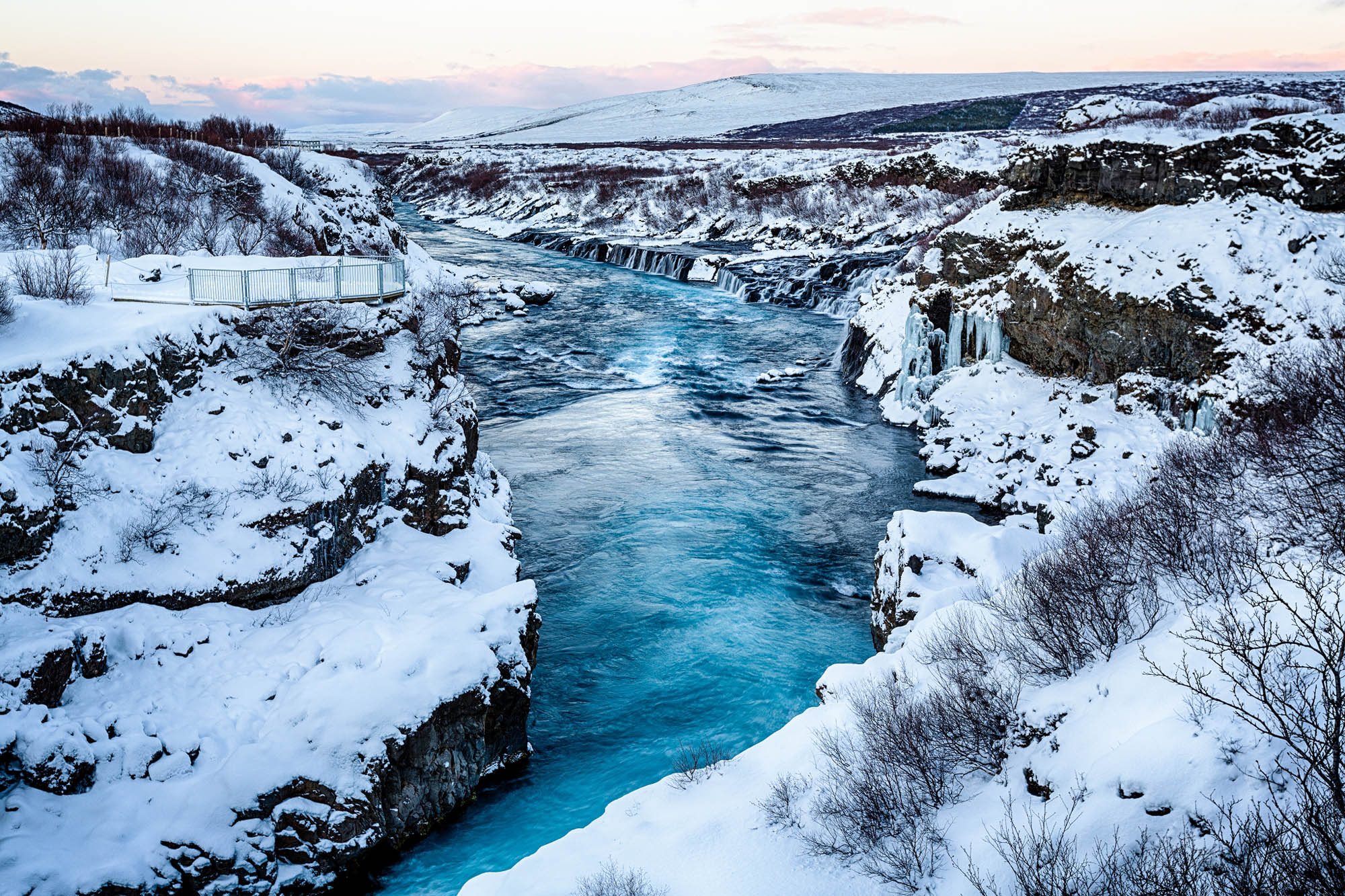 Hraunfossar waterfall in the winter - Iceland winter holidays