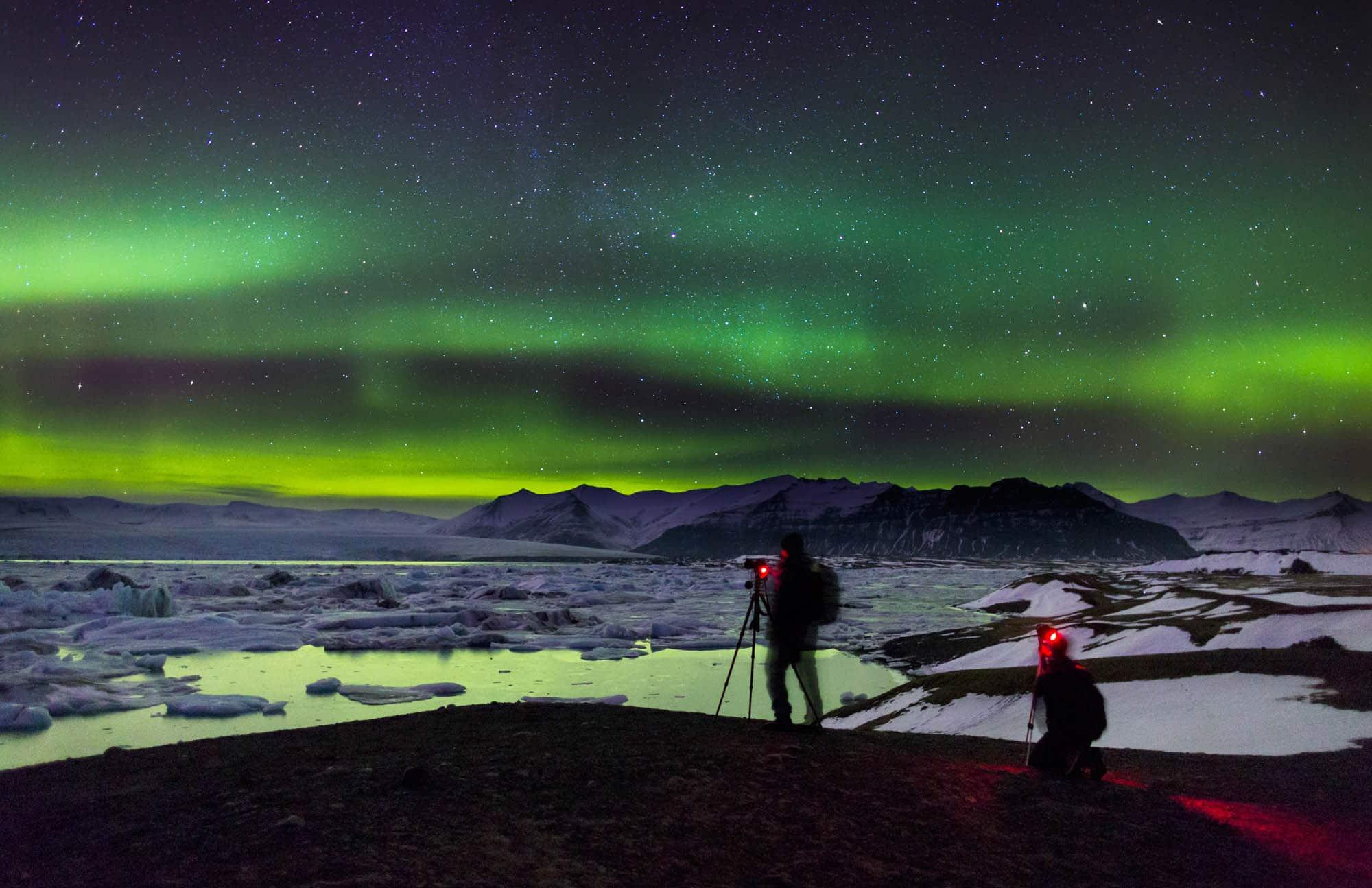 Northern Lights over Jokullsarlon