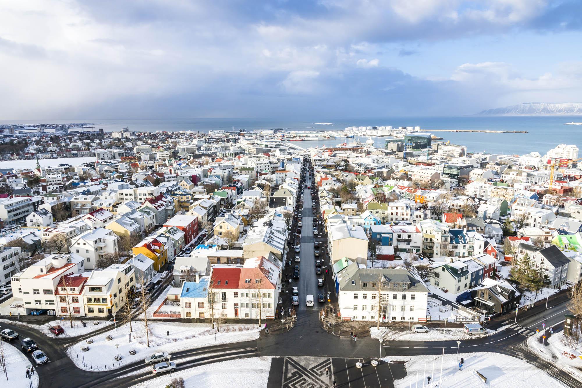 Reykjavik Winter View over Hallgrimskirkja