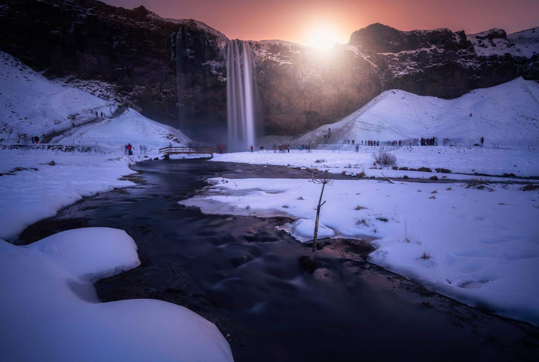 Seljalandsfoss waterfall in Winter