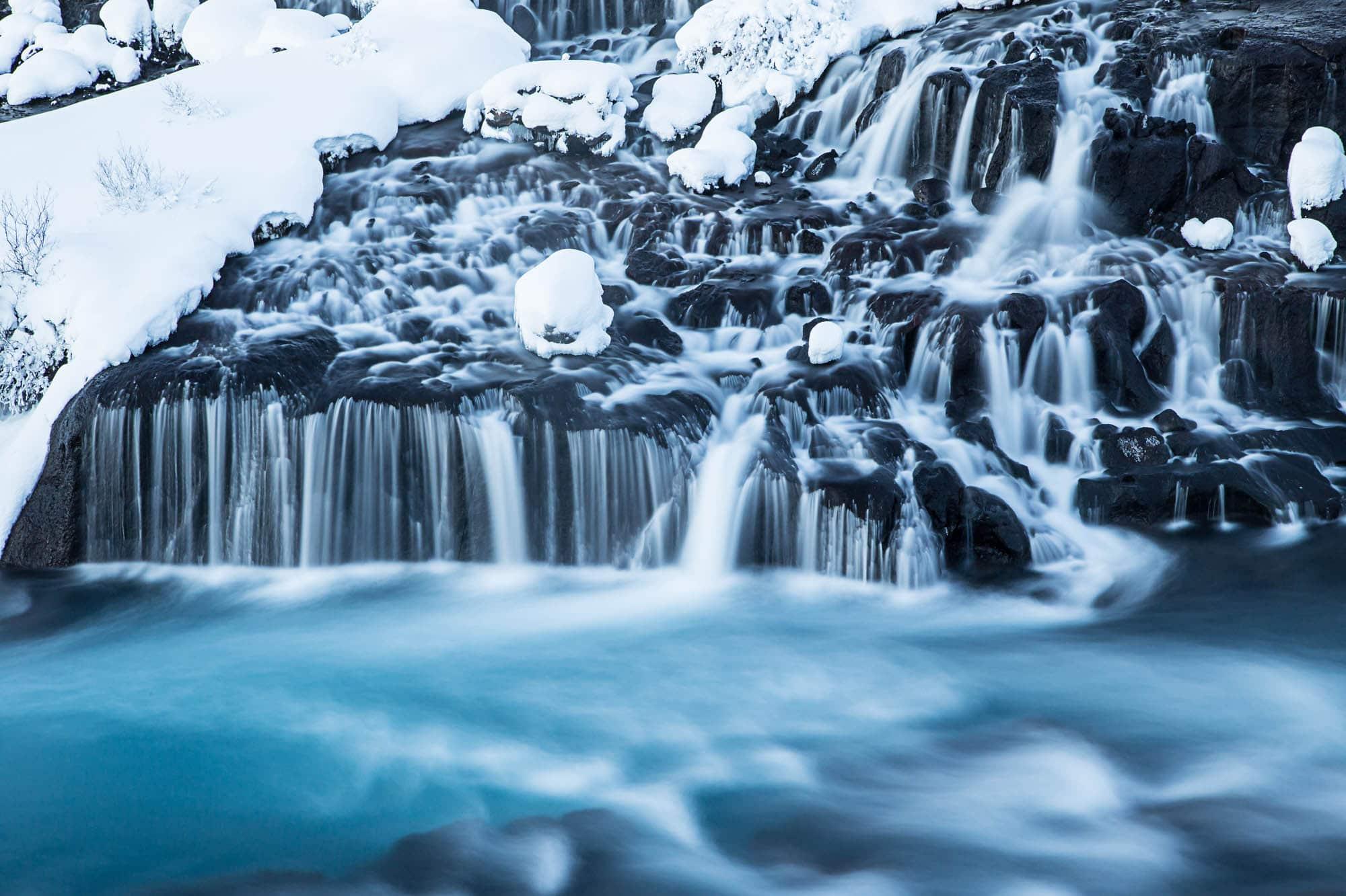 Hraunfossar waterfalls in winter