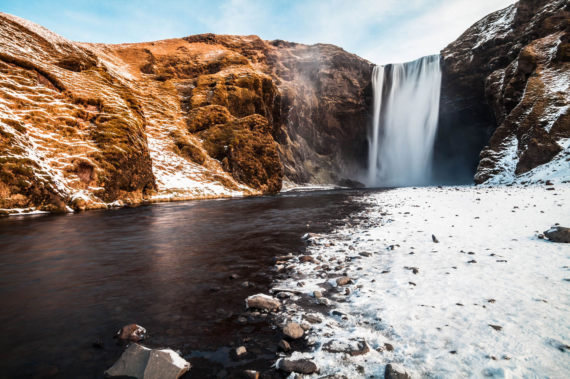 Skogafoss Waterfall in Winter