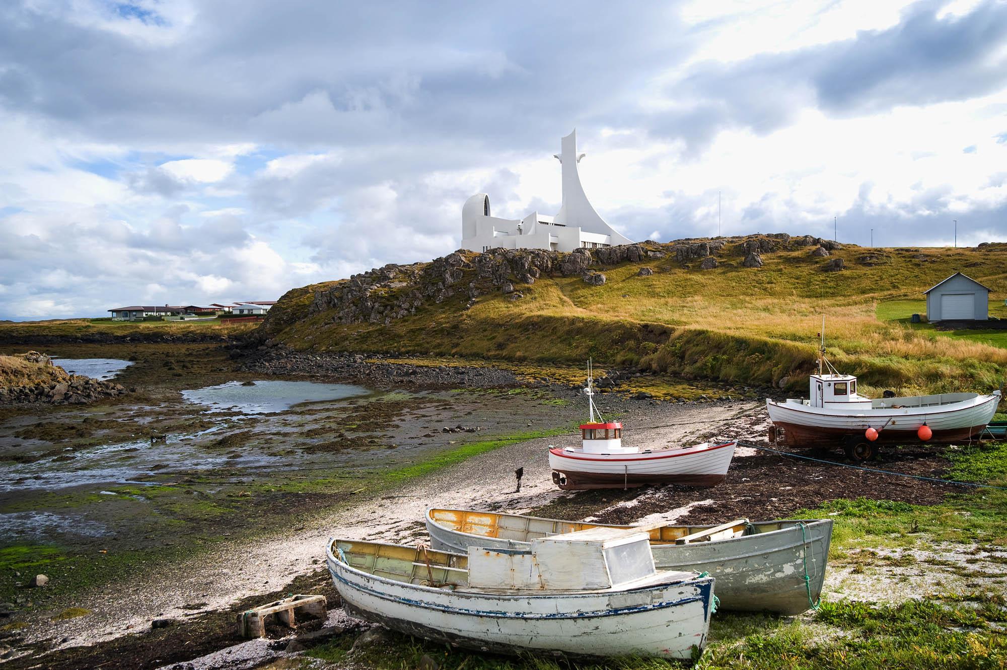 Boats on Stykkisholmur beach on Snæfellsnes peninsula