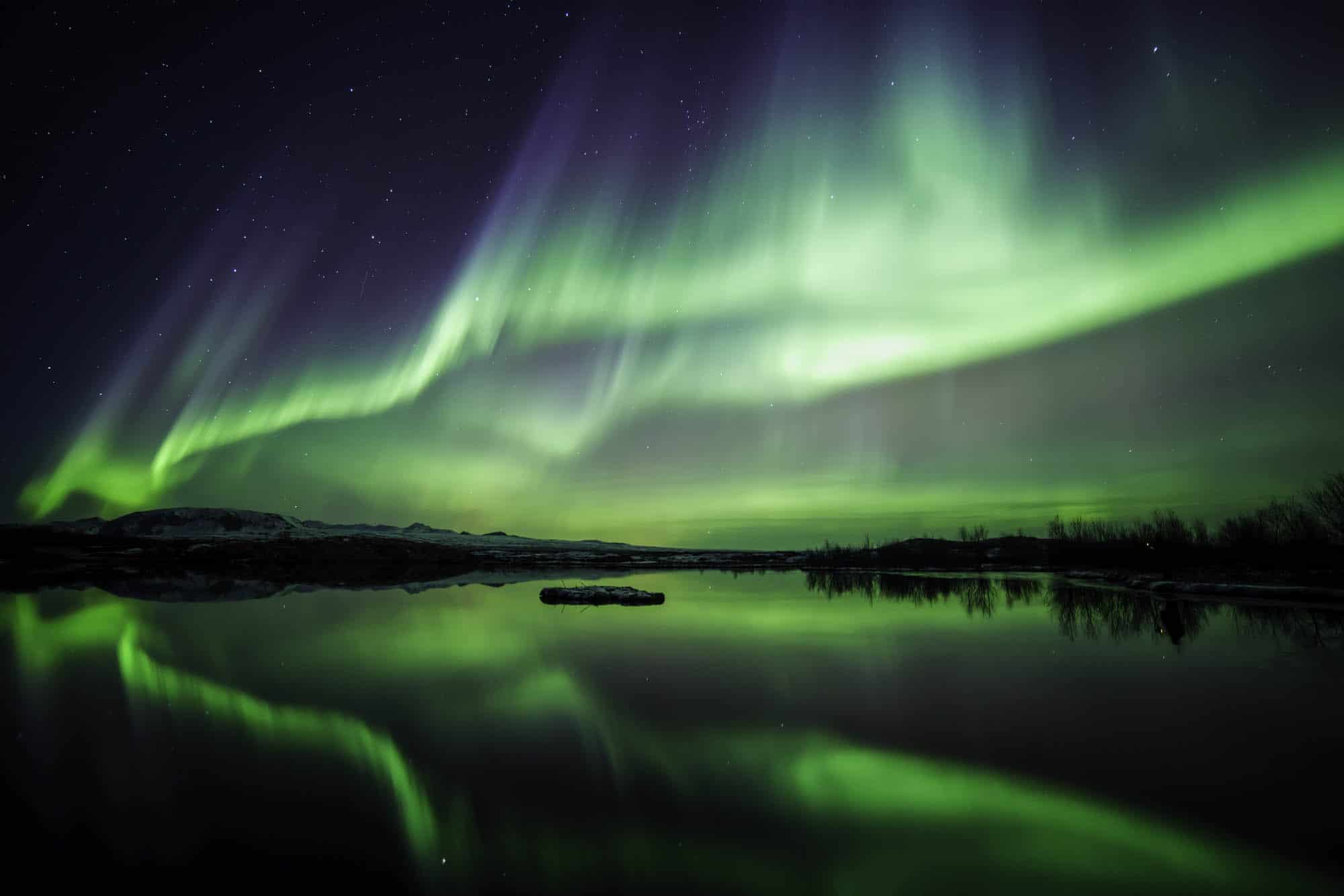 Northern Lights over Thingvellir - Iceland in winter