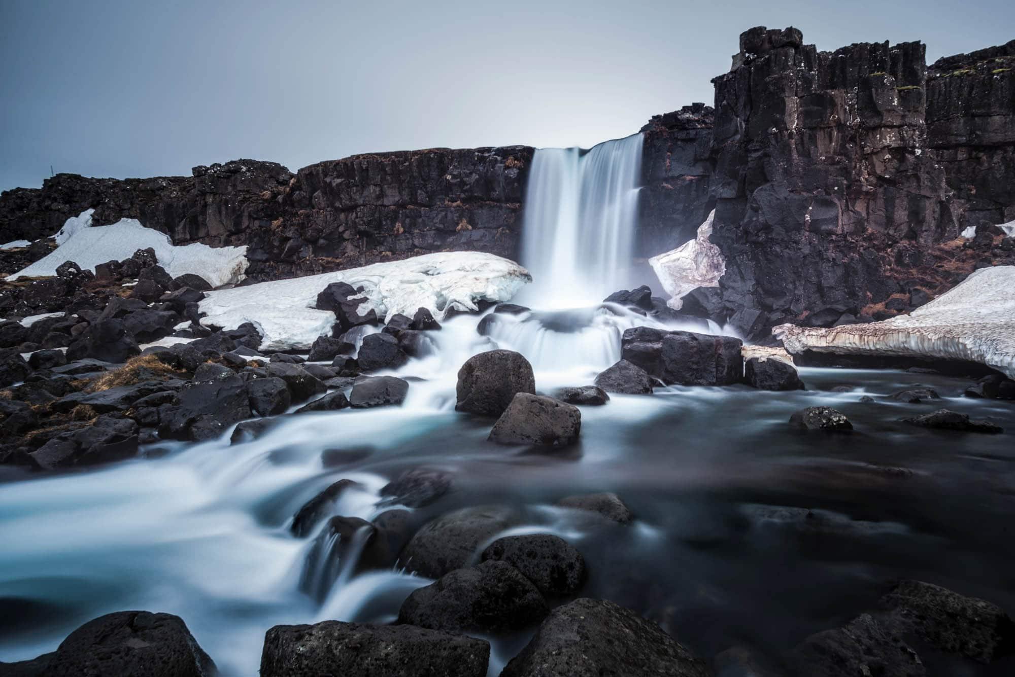 Oxararfoss in winter - Thingvellir National Park Iceland