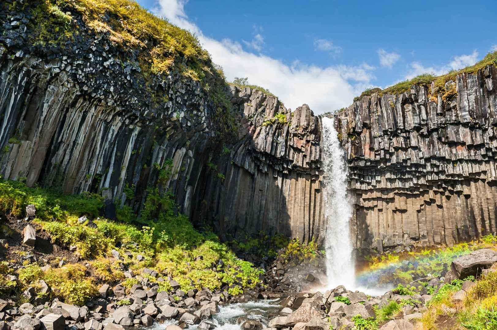 Svartifoss waterfall in summer